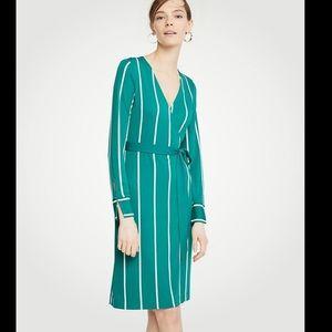 Ann Taylor green and white stripe wrap dress